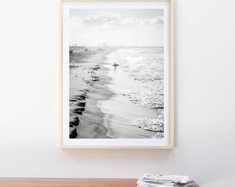 """Surfer at Manhattan Beach, Black and White, Surf Photography Prints, Canvas, Beach Art, 5x7, 8x10, 11x14, 16x20, 20x30, 24x36, 30x40, 40x60"""""""