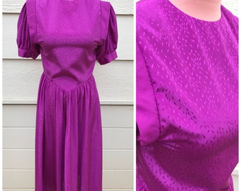 Magenta purple 80s silky prom dinner dress size medium
