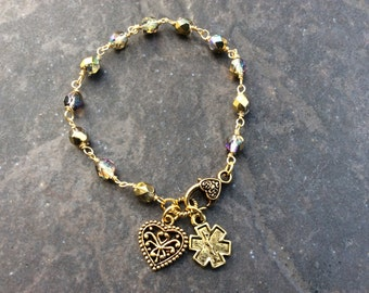 Gold Diabetic Medical Alert Bracelet with Rosary Style chain and heart charm and clasp Diabetes Awareness Bracelet