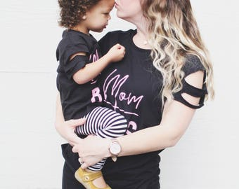Mom Boss + Mini Boss Slit Sleeve,Mommy And Me Sets, Mommy and Me Sets, Twinning Sets, Mom Shirts, Matching Kid shirts, Family Set