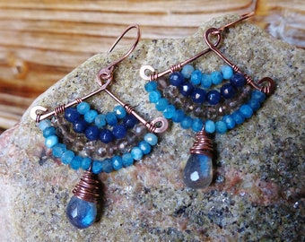 Breeze. Artisan Hammered Brass Drop Earrings with Wire Wrapped Gems-Aqua Quartz, Blue Jade, Labradorite, Smoky Quartz-Boho Gypsy Vintage Art