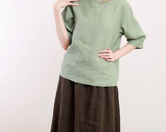 Linen Blouse/Linen Top Boatneck and 3/4 Sleeves/ Top Basic Top