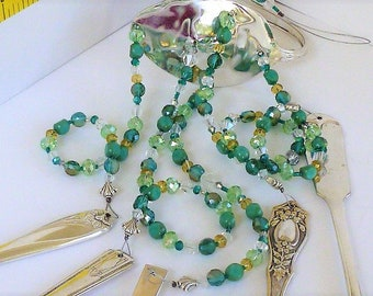 Silverware wind chime Vintage silverware and sea foam green beads with crystals and silver