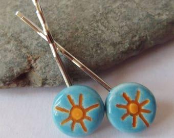 Ceramic Pottery Sun Hair Clip Set, Hair Grips, Bobby Pin Set, Blue Yellow, Ceramic Accessories, Sun Accessories, Summer Accessories