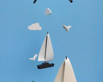 Sailboat Mobile,Y31,Gray,Yacht,Shark,B,Seagull,Cloud,Mobile,Baby Mobile,Nursery Mobile,Mobile,Ocean,Sea,Nautical,Wood,Sailboat,Boat