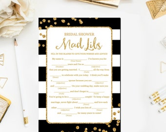 Mad Libs Wedding Game, Bridal Mad Libs, Shower Games Printable, Madlibs, Black and Gold, Advice for Bride to Be BR45