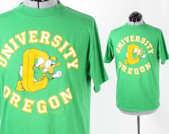 Vintage Retro Green Oregon Ducks Shirt Medium
