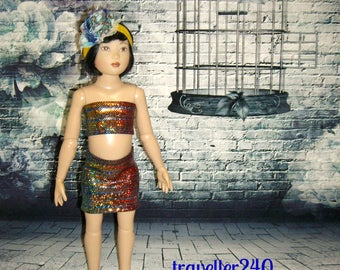"""Handmade for 14"""" Helen Kish Chrysalis Dolls, """"Sparkly Night"""" 3 Piece Outfit in Multicolor Metallic Top Skirt Headband by traveller240"""