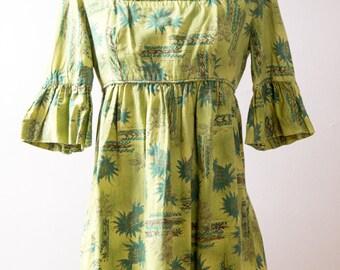 60s Hawaiian Tiki Print Mini Dress Size Small