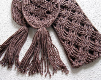 Brown beaded scarf.  Open weave cafe brown crochet scarf with rainbow beads.