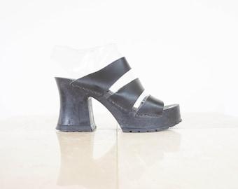 90s Black Leather Platform Sandal Clogs / Women's Size 8 US - 38/39 Eur - 6 UK