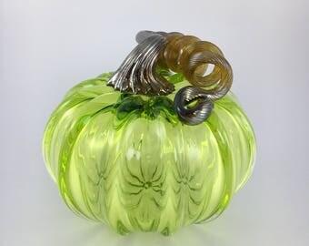 """3.5"""" Glass Pumpkin by Jonathan Winfisky - Transparent Lime Green- Hand Blown Glass"""