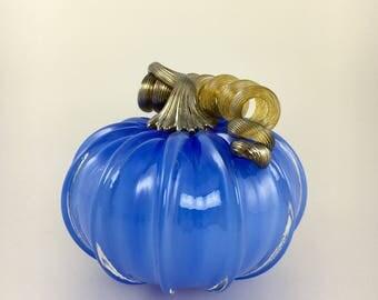 """4"""" Glass Pumpkin by Jonathan Winfisky - Opaque Electric Blue - Hand Blown Glass"""