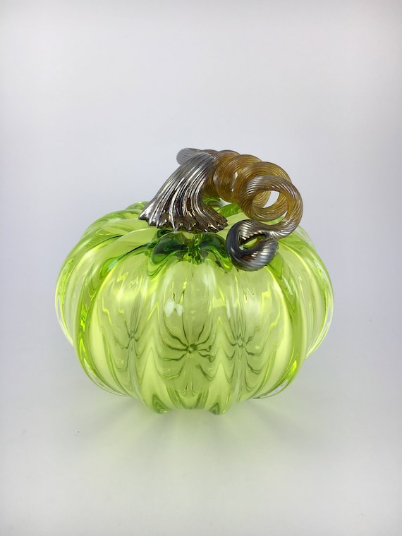 "3.5"" Glass Pumpkin by Jonathan Winfisky - Transparent Lime Green- Hand Blown Glass"