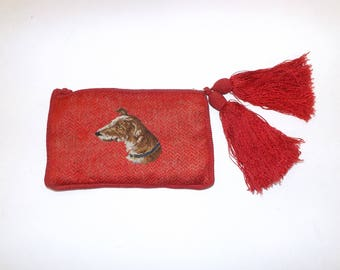 Vintage 1920s Art Deco flapper red embroidered dog greyhound or borzoi red clutch handbag bag with large tassel detail rare novelty