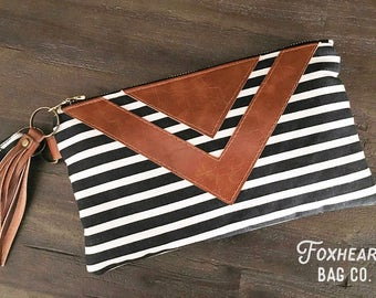 Black and White Striped Fabric Clutch - Chevron Design - Handbag - Wristlet - Faux Leather Detail - Hippie Chic - Boho Style - Koro Clutch