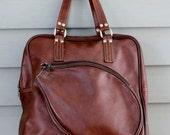 1970s retro brown vinyl tennis bag