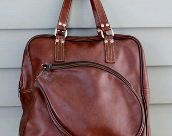 1970s retro brown vinyl tennis bag