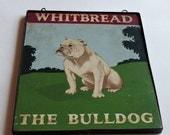 Vintage Sign, Whitbread, The Bulldog,Metal and Wood,Wall Hanging,Home Decor,Bar Decor,British Whitbread Scottish Distillers,The Bulldog