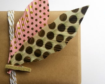 Handmade Feathers - Polka Dots Pink & Gold || Metallic