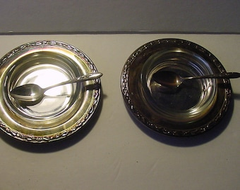 Hors D'oeuvres Serving Set of 2 Carlton Silver Plate Tray Glass Dish Spoon Holiday Entertaining