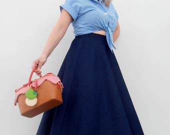 Denim 50s style circle skirt , Vintage 50s inspired custom made denim skirt