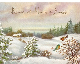 Country Cabin & Birds Snow Scene Vintage French Christmas Card from Vintage Paper Attic