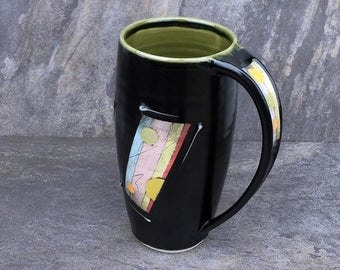 Extra large hand thrown pottery mug black with green interior holds 20 ounces