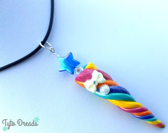 Unicorn Horn Necklace - Rainbow