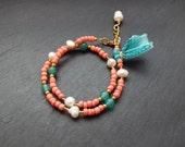 Wrap Around Bracelet - Beaded Wrap Bracelet - Gift for Bestfriend - Boho Gifts - Thin Bracelet - Bohemian Jewelry