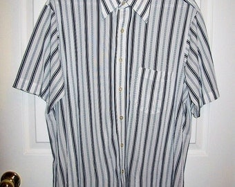 """Vintage 1970s Mens Blue & White Striped Polyester Shirt by Arrow Knits Large 16 1/2"""" Neck Only 8 USD"""