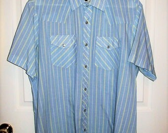 Vintage Men's Blue Striped Pearl Snap Front Shirt by Authentic Western Youngbloods XL Only 8 USD