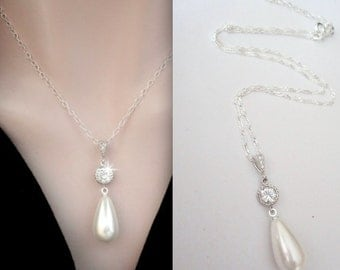 Pearl drop necklace ~ Brides necklace ~ Long pearl drop - Sterling silver - Wedding jewelry ~ High Quality - Bridal Jewelry
