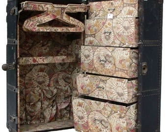 Antique c. 1920s Malles Lavoet French Art Nouveau Wardrobe Trunk w/ Japanese Chinoiserie Umbrella Fabric Interior - Great Retail Display