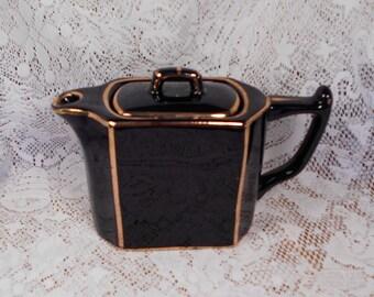 Vintage Dark Dark Navy or Black with Gold England Teapot