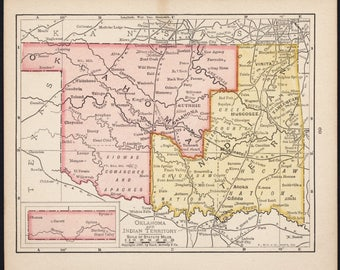 Small Oklahoma & Indian Territory Map (Wall Art, Early 1900s Antique State Decor) No. 69-1