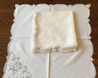 White Linen Napkins Whitework Embroidered Linen Mosaic Lace Italian Punchwork Lace Mosaic Work Table Linen Vintage Embroidery Napkin Set