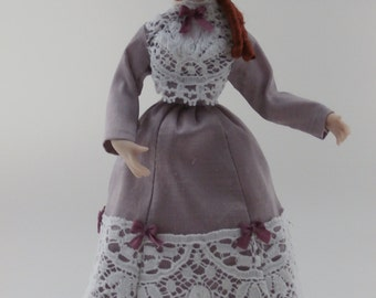 Dolls House Doll JUNE - OOAK Handmade 1/12 scale Porcelain Lady Doll