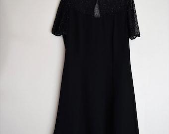 salvation armani vintage beaded dress - little black dress with beaded bodice - sheer beaded collar - black beaded evening dress -vtg size M