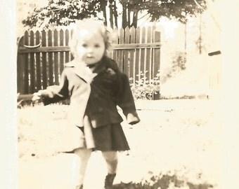 "Vintage Snapshot ""Baby Steps"" Adorable Toddler Walking Towards Camera - Cute Little Girl - Blonde Curly Hair - Found Original Photo"