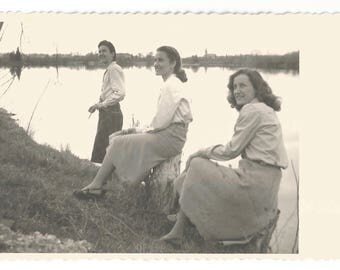 """Vintage Snapshot """"Sisters"""" Pretty Girls Posed Along River RPPC Real Photo Postcard Found Photo"""