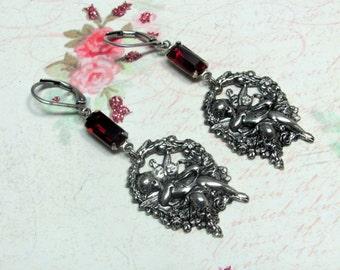 Cupid Earrings, Cherub Earrings, Valentine Earrings, Angel Earrings, Vintage Cupid Earring, Valentine Jewelry, Cupid Jewelry, Cherub Jewelry