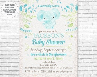 Elephant Baby Shower Invitation - Blue Watercolor Baby Shower Invitation - Instantly Download and Personalize in Adobe Reader at home