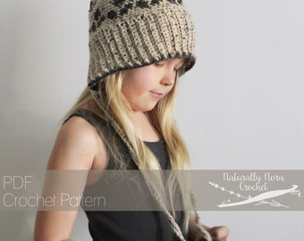 Crochet Pattern: The Sweetbriar Split Brim Beanie -Toddler, Child, & Adult Sizes- fairisle pom pom beanie hat ribbed
