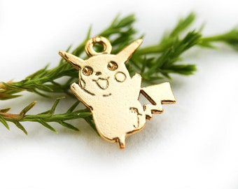 Golden Pikachu Pokemon charm, 24K Gold plated over Sterling silver 925, Pokemon game, Pikachu pendant, 13mm - 1pc - F500