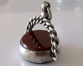 Large Victorian Silver Carnelian and Bloodstone Swivel Fob