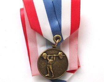 Weight Lifting Medal, 1960s Vintage, Medal, Sports Medal, Bodybuilding Award