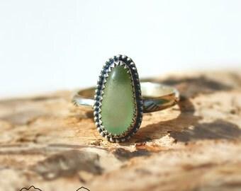 Hawaiian Kauai Tiny Aqua Beach Glass Set in 925 Sterling Silver Handcrafted Ring - Size 7