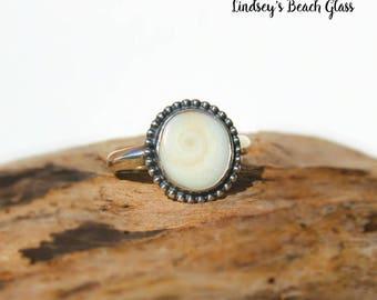 Hawaiian Operculum (Shiva's Eye) Shell Set in 925 Sterling Silver Handcrafted Ring - Size 6