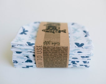 Cloth Diaper Wipes - Family Cloth - Soft  Baby Wipes Cloth Wipes Set of 20 Baby Wipes - Reusable Flannel Wipes (Blue Butterflies)